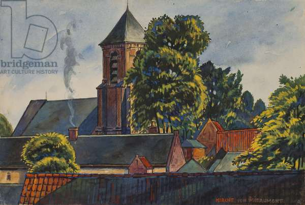Miraumont Church from the North-West before Shelling, c.1914-16 (ink, w/c & gouache on paper)