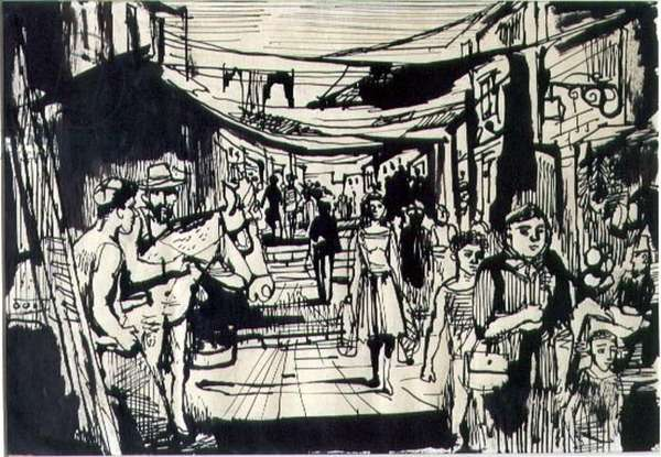 Jerusalem Street Scene, 1950 (pen and ink with wash on paper)