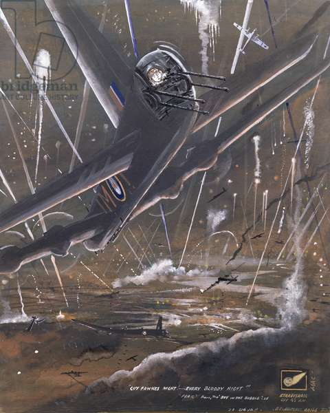 A Short Stirling Bomber Under Fire at Night, 1940s (w/c & gouache)