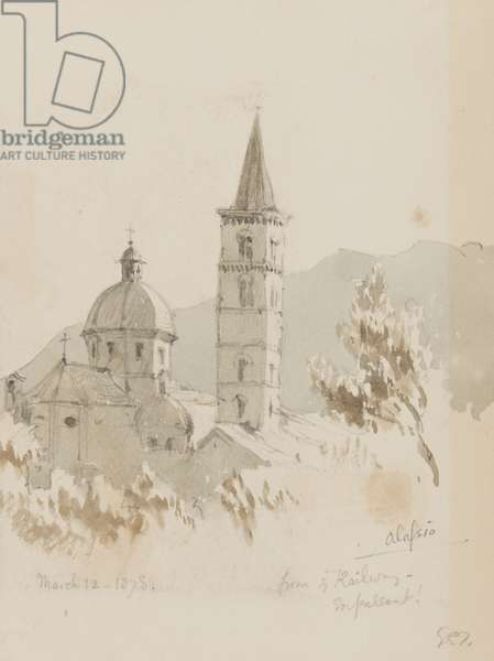 Alassio, from ye Railway, En Passant!, 12th March 1878 (pencil & w/c on paper)
