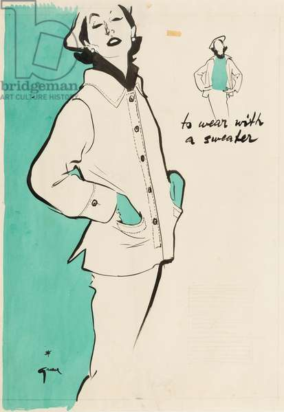 'To wear with a sweater', c.1950 (brush, ink & gouache on paper)