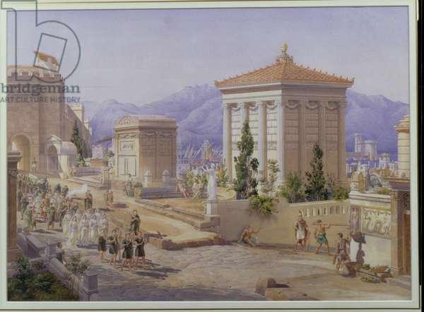 The Via dei Sarpolcri, Pompeii, c.1855 (w/c on paper)