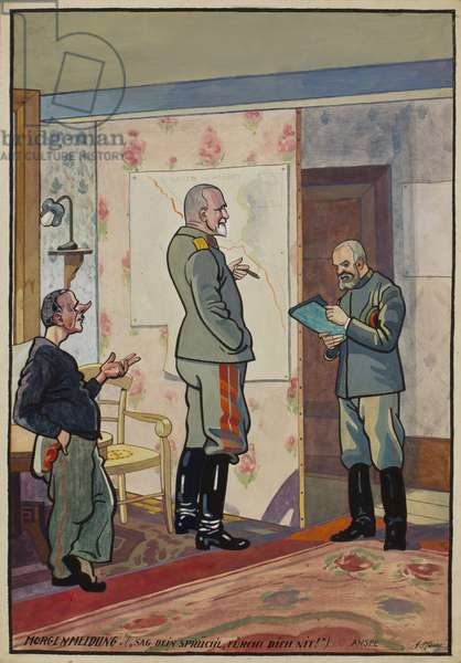 Lieutenant General von Wundt studying a map of the Front Line between Ovillers and Beaumont Hamel with Baul and Ansel in his Quarters in Little Miraumont, c.1914-16 (w/c & gouache on paper)