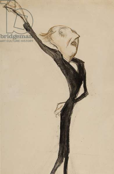 A theatrical figure, possibly Sir Beerbohm Tree, c.1908 (brush, w/c & ink on paper)