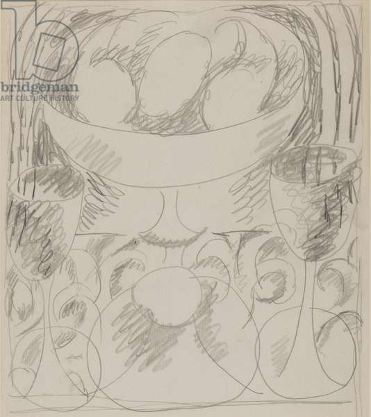 Still-life with two goblets, 1918-20 (pencil on paper)
