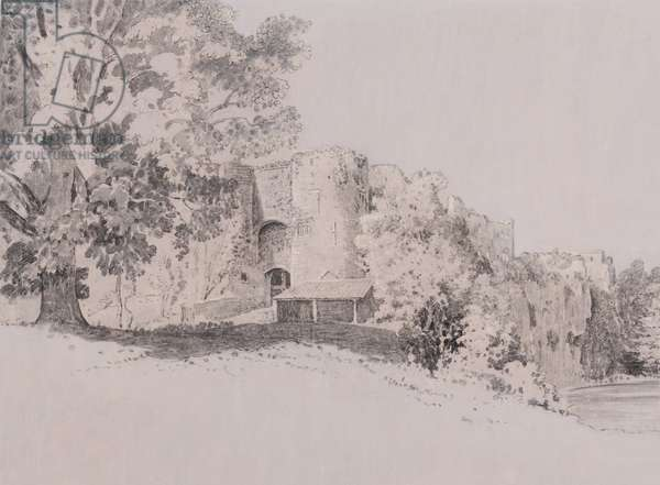 Chepstow Castle (pen, brush & ink on a gouache ground)