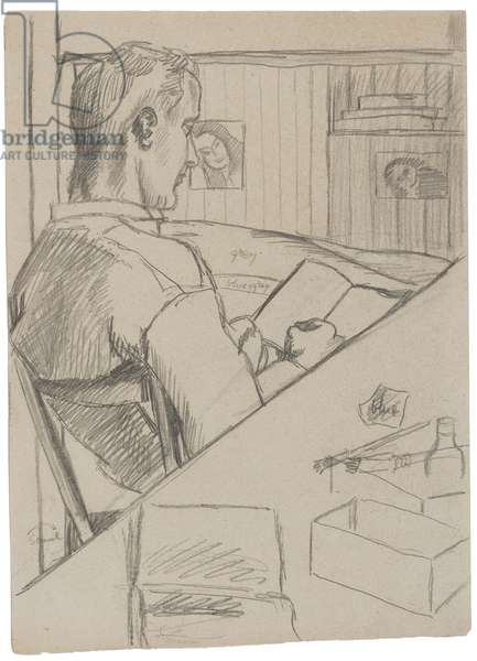 POW reading or sketching, the POW Marlag O, Westertimke, Lower Saxony, Summer 1944 (pencil on paper)