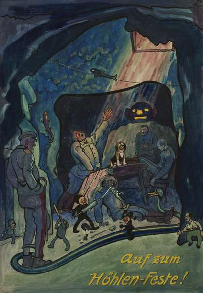 'Off to the Cave Celebrations', probably at Courcelette or Miraumont on Midsummer Night, 1915 (ink, w/c & gouache on paper)