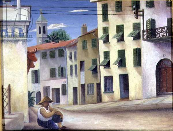 Street in Cap Ferrat, c.1950 (oil on board)