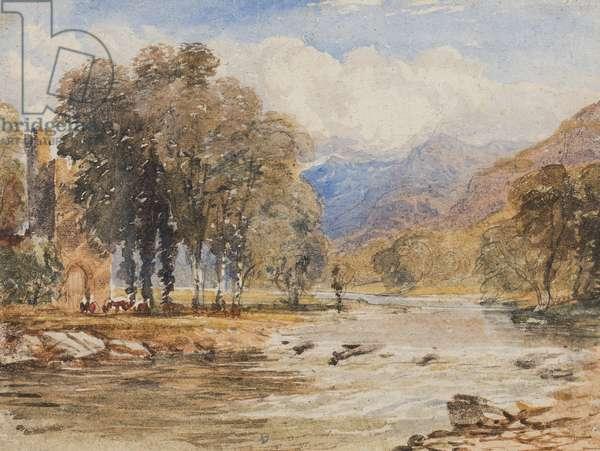 River landscape, probably Scotland (pencil & w/c on paper)