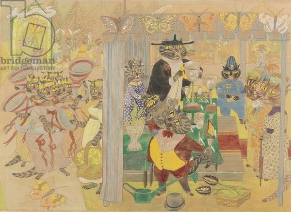 Rodney Village Flower Show (pencil, w/c & gouache on paper)