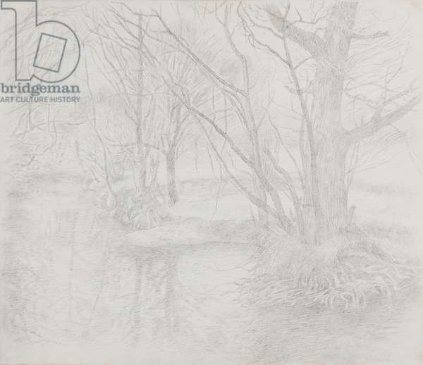 River Edw - Early Spring 1976 (graphite stick on paper)