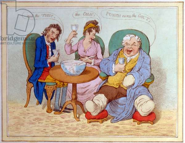 """""""Punch Cures the Gout, the Colic, and the Tisic"""" (coloured etching)"""