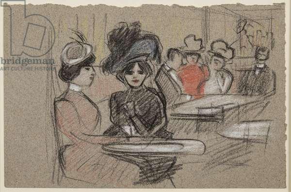 Au Café, c.1895 (red, black & white chalks on paper)
