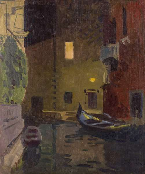 Venice at night, before 1928' (oil on canvas board)