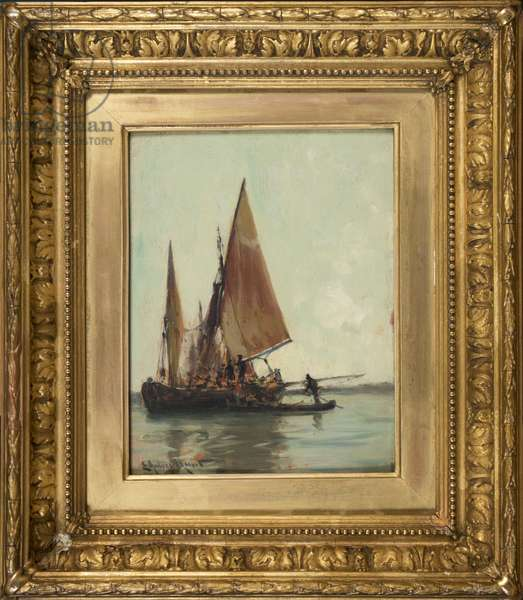 Venetian barge on the lagoon (oil on panel)