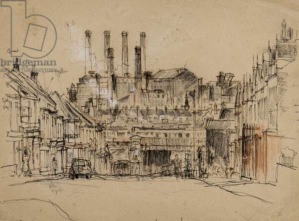 Industrial townscape, c.1959 (pen, brush, chalk & ink on tan paper)
