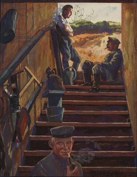 Junior Officers on the Steps of a Dugout between Ovillers and Beaumont Hamel, c.1914-16 (ink, w/c & gouache on paper)