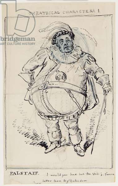 Theatrical Characters 1: Falstaff, c.1825 (pen & ink on paper)