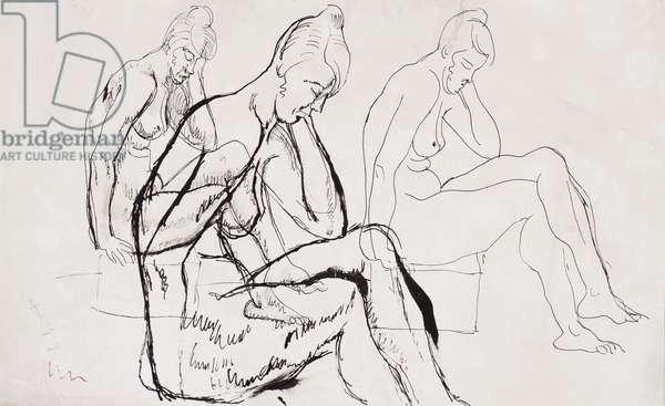 Figure studies, April 1919 (pencil, pen & ink on paper)