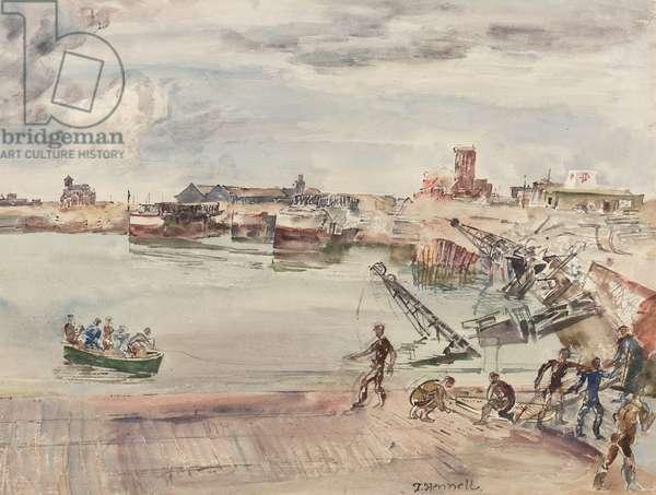 'Docks ex entrepots (sic) du Port du Calais Bassin Ouest', 1944 (pencil, pen, ink, brush & w/c on paper)