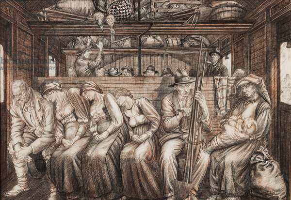 Italian Harvesters Travelling, c.1924 (pencil & chalk on paper)
