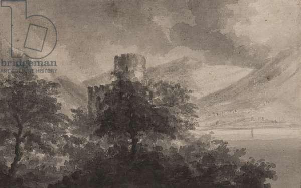 Wooded Lakeland Castle: capriccio, 1804 (brush & monochrome washes on paper)