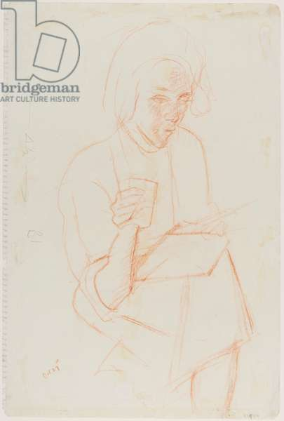 Seated woman, 27 October 1954 (red chalk on paper)