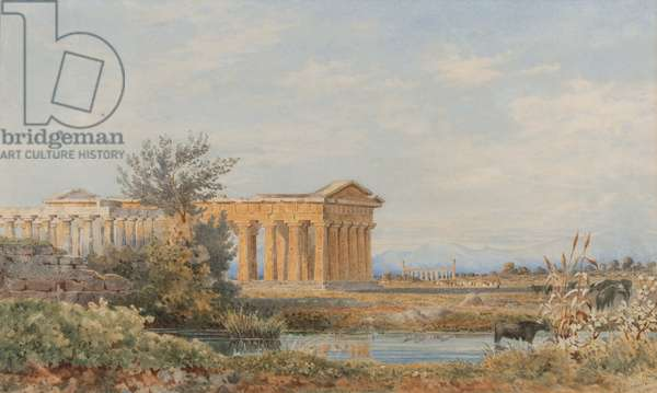 The Temples of Paestum, 1843-44 (w/c on paper)