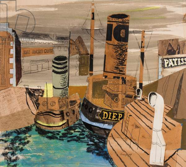 French Harbour, 1948 (pencil, crayon, gouache & collage on paper)
