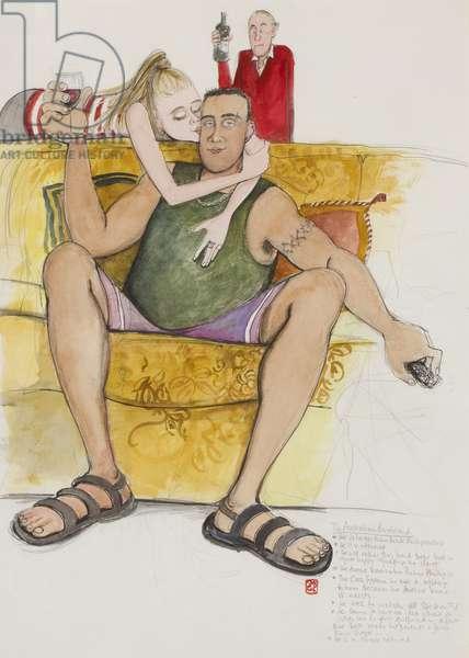 The Australian Boyfriend, 2004 (pencil, ink & w/c on paper)