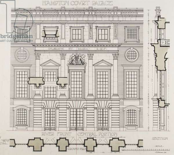 Hampton Court Palace, Section for London Architectural Association School of Architecture, 1906/07 (pen & ink on paper)