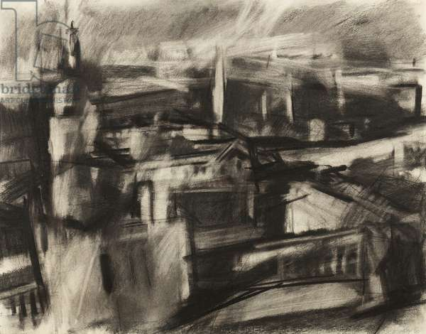 Landscape, Greenwich, 1960 (charcoal on paper)
