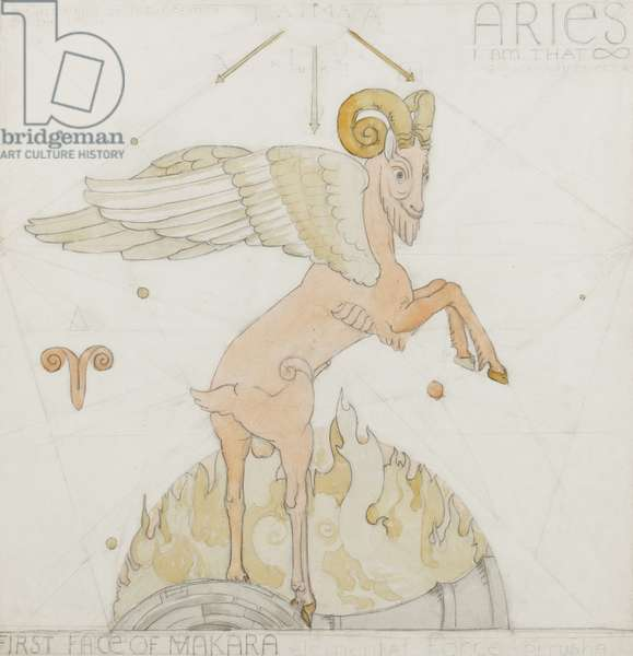 Aries, c.1948 (pencil, pen, ink & w/c on paper)