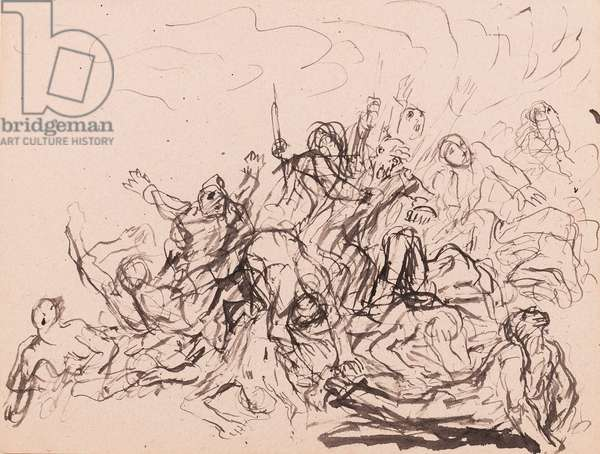 Study for a composition, possibly for the subject 'The End of the World', c.1900 (pen, brush & ink on paper)