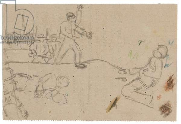 Commandos landing on Normandie Dock, St Nazaire, 1942 (pencil on paper)