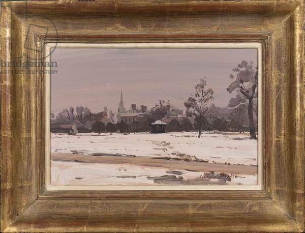Winter Dusk: Kensington Palace, 1991 (oil on card)