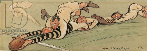 Rugby Downs!, 1913 (ink, w/c & gouache on paper)