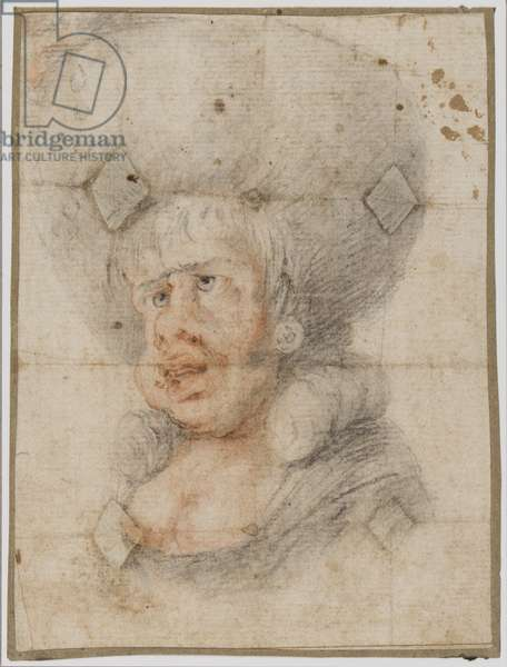 Caricature of a woman, c.1780 (red & black chalk on paper)