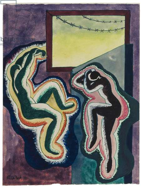 'Agony', or 'Confinement', Marlag O, Westertimke, Lower Saxony, 1942-45 (ink & gouache on paper)