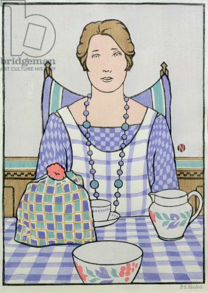 Woman at Kitchen Table (coloured woodcut)