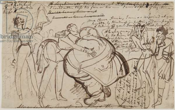 'A Kiss at the Congress', 1818 (pen & ink on paper)