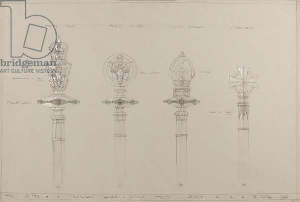 High Altar: proposed gold and silver staves and maces, actual size (pencil, ink, brush, w/c & silver paint on grey card)