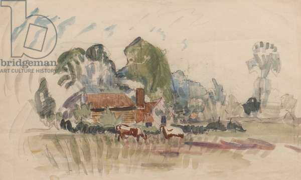Near Great House, Upminster Common, Essex, c.1915 (pencil & w/c on paper)