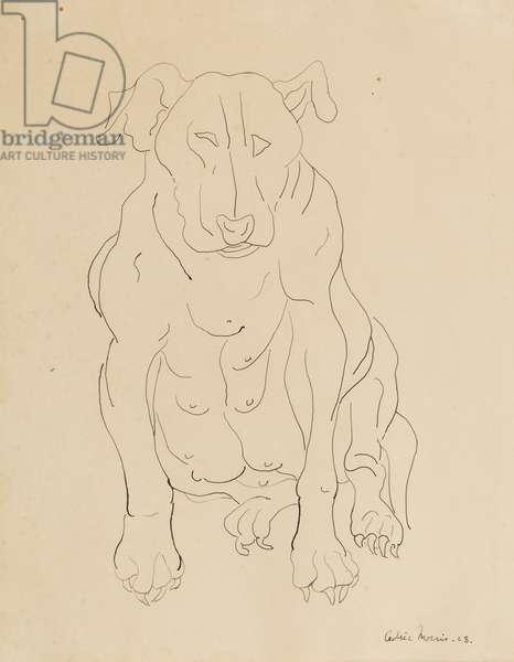 Nancy Morris's bull dog, 1928 (pen & ink on paper)
