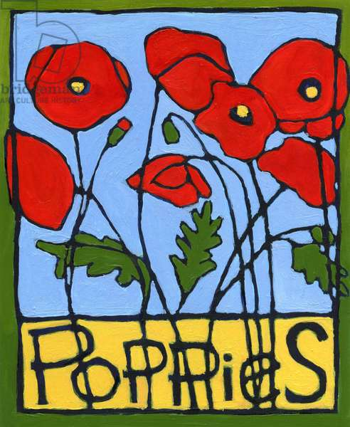 Poppies, 2004 (oil on illustration board)
