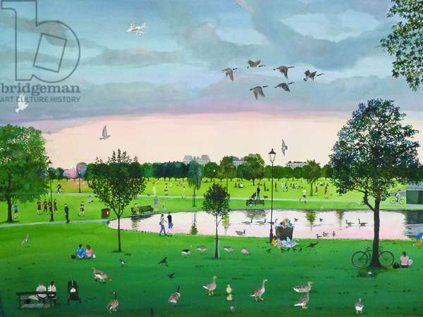 Geese Flying, Summer Evening, 2011 (w/c & collage on paper)