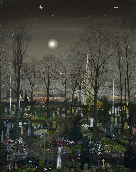 Abney Park by Moonlight, 2012 (oil on canvas)