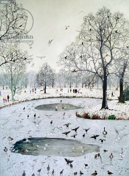 Feeding Birds on Frozen Lake, 2012 (w/c & acrylic on paper)