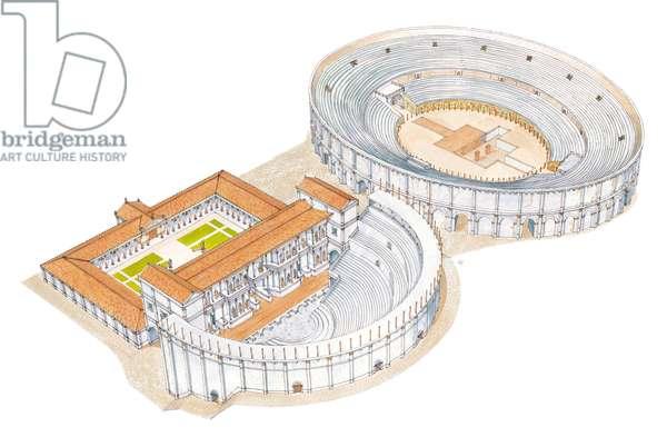Roman theatre and amphitheatre. Reconstruction. Merida, Spain